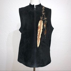 Montana Co Black Suede Vest Embroidered Feathers
